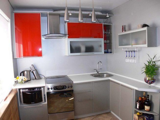 Пример освещения для маленькой кухни