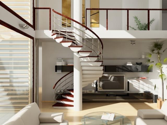 Лестница посреди жилой комнаты