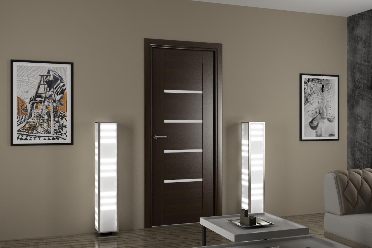 Межкомнатная дверь цвета венге со светлыми вставками