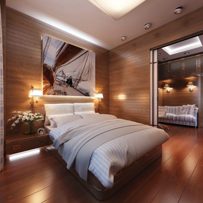 Минималистический стиль в дизайне узкой спальни