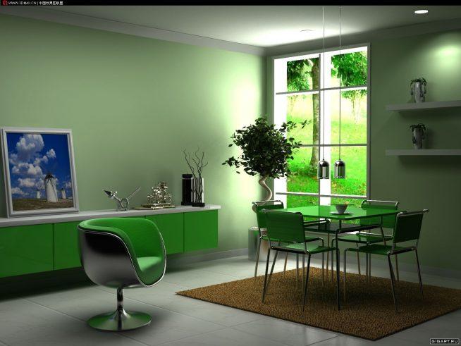 Сочетание мятного и зелёного цветов в интерьере