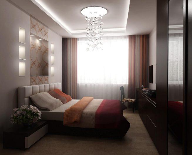 Вариант интерьера узкой спальни