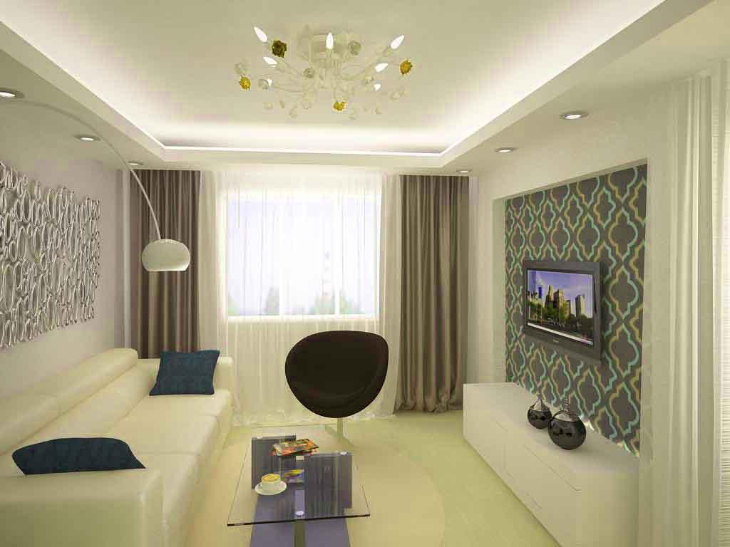 Визуальное увеличение простанства маленькой гостиной