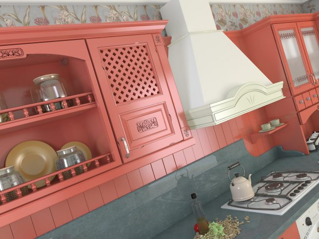 Яркие шкафчики для винтажной кухни