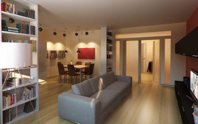 Зонирование гостиной с помощью стеллажей