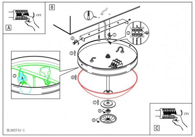 Схема подключения светильника к потолку