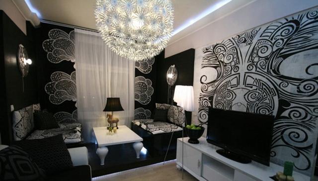 Сочетание чёрных и белых обоев в гостиной