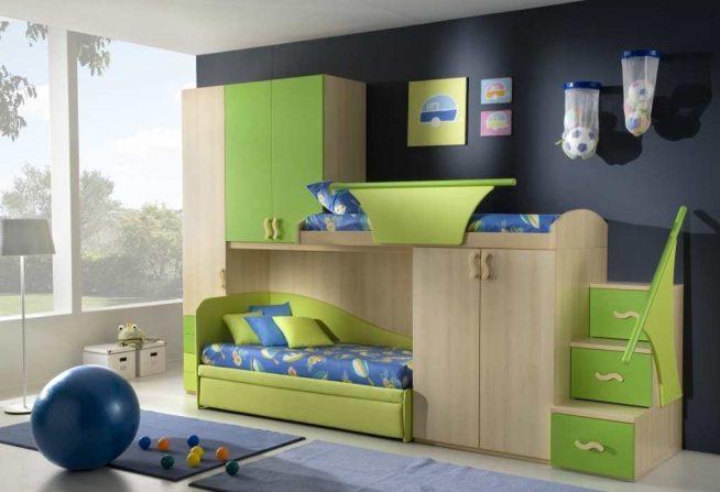 Двухъярусная кровать с гардеробом
