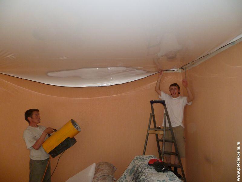 Как сделать полотно для потолка 37