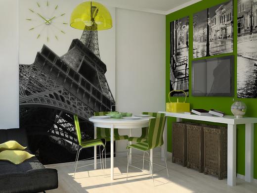 Классические и фотообои в кухонном интерьере