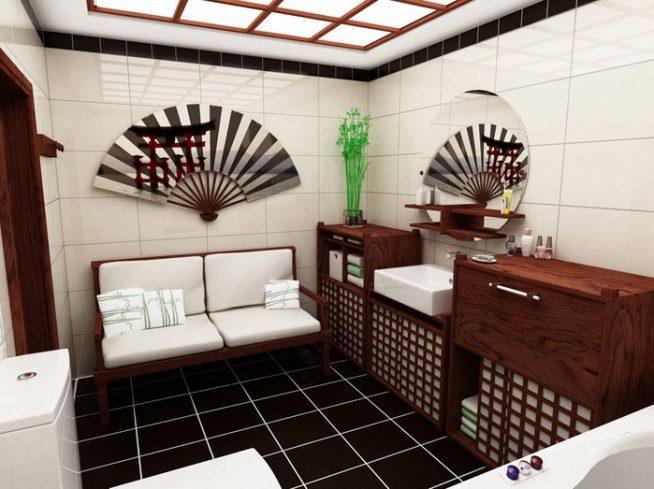 Мебель и аксессуары для ванной в японском стиле