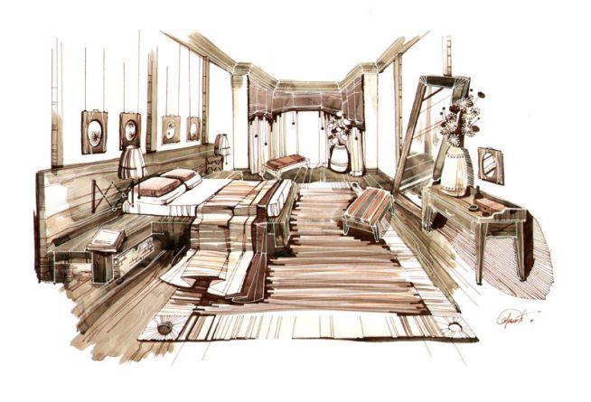 Эскиз спальни-шале