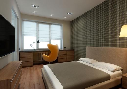 Точечное освещение в спальне-студии