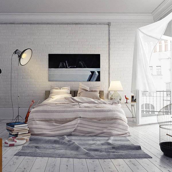 Спальня лофт в светлых тонах