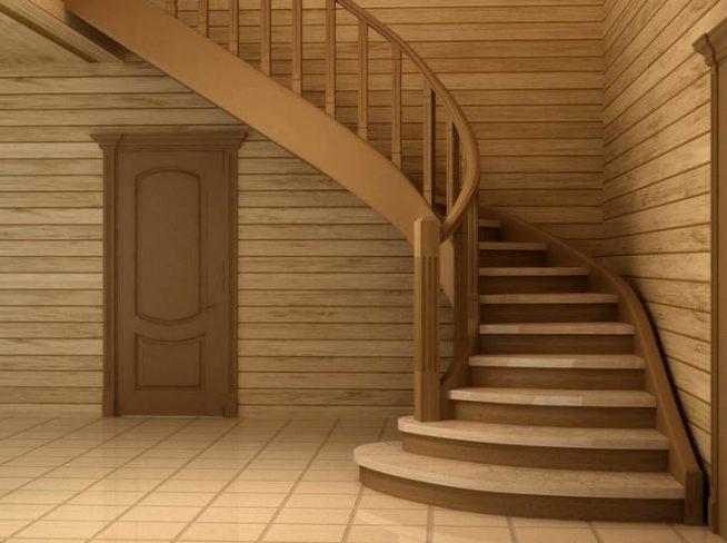 Отделка поворотной лестницы ламинатом