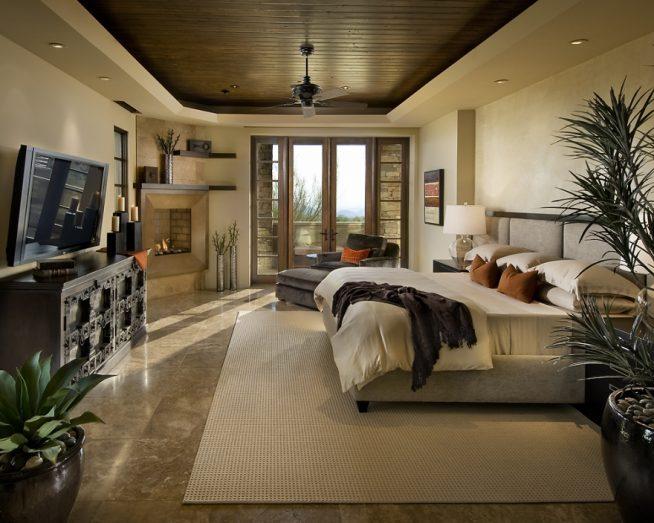 Комнатные растения в спальне-шале в стиле модерн