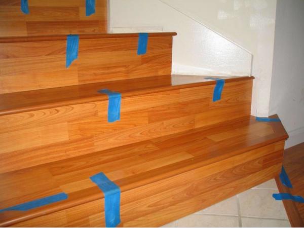 Дополнительная фиксация ламината и облицовки на лестнице