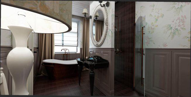 Ванная комната с деревянными панелями