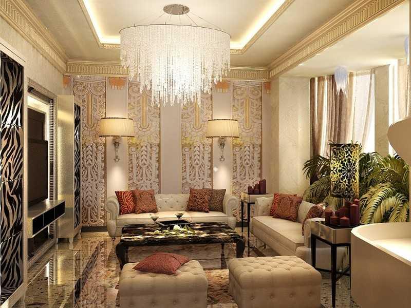 Дизайн интерьера гостиной в стиле арт-деко фото