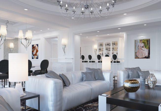 Комната с белыми стенами в стиле арт-деко