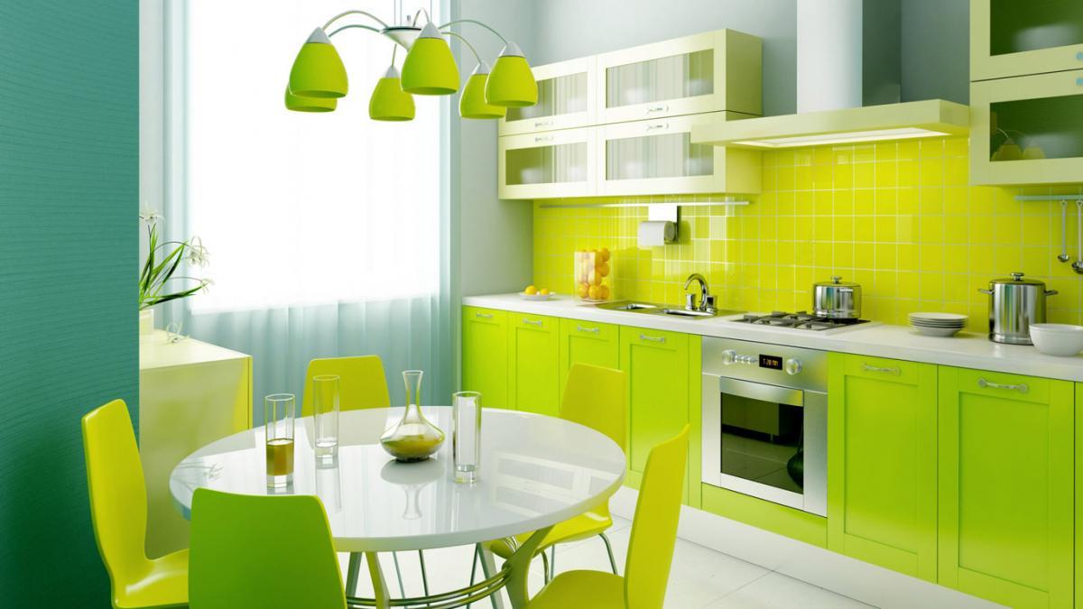 Дизайны кухни в желто зеленых тонах