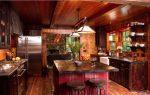 тёмно-коричневая кухня, сочетающая элементы этно и кантри