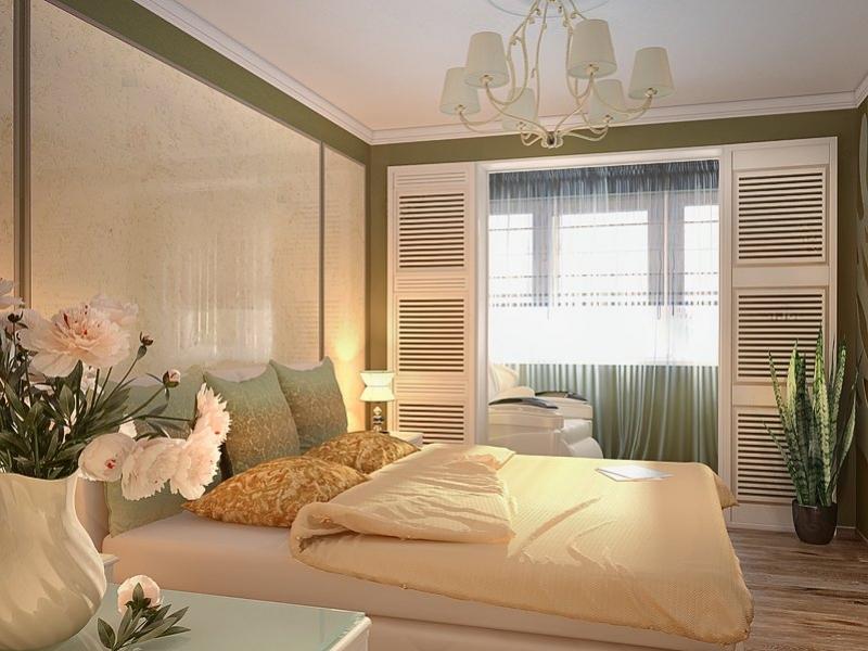 Дизайн спальни с балконом в квартире.