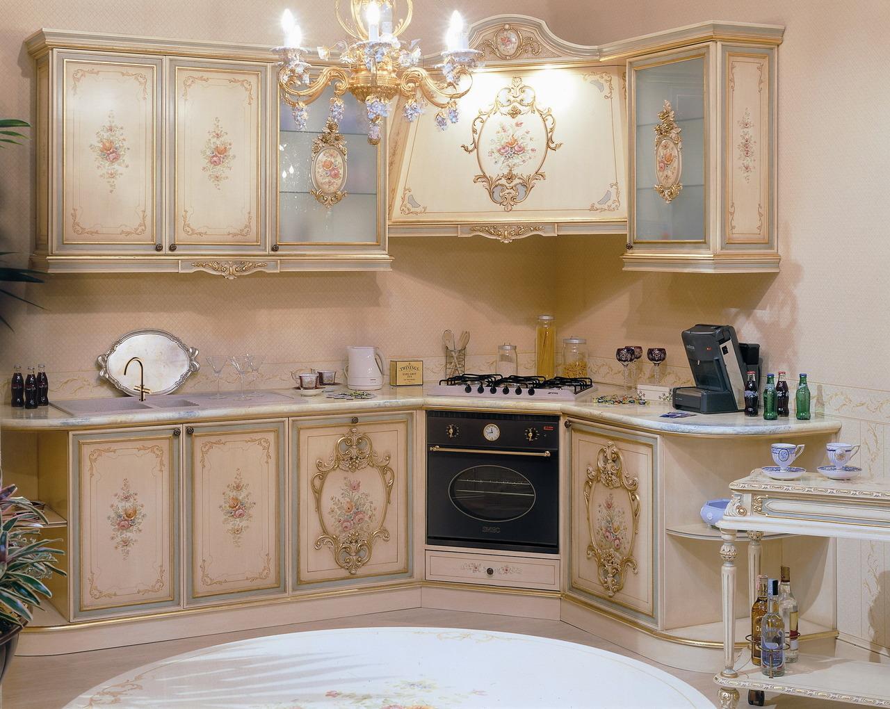 Рококо стиль в интерьере кухни фото