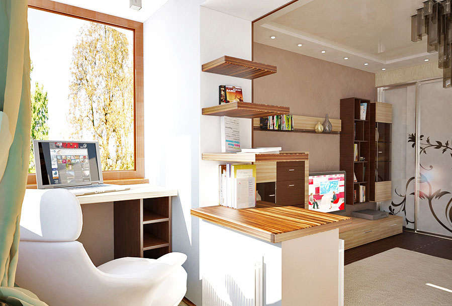 Дизайн балкона объединенного с комнатой.