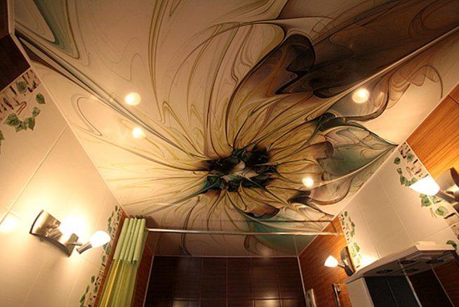 Натяжной потолок из ПВХ плёнки с рисунком