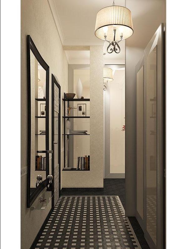 Дизайн коридора стены кирпич