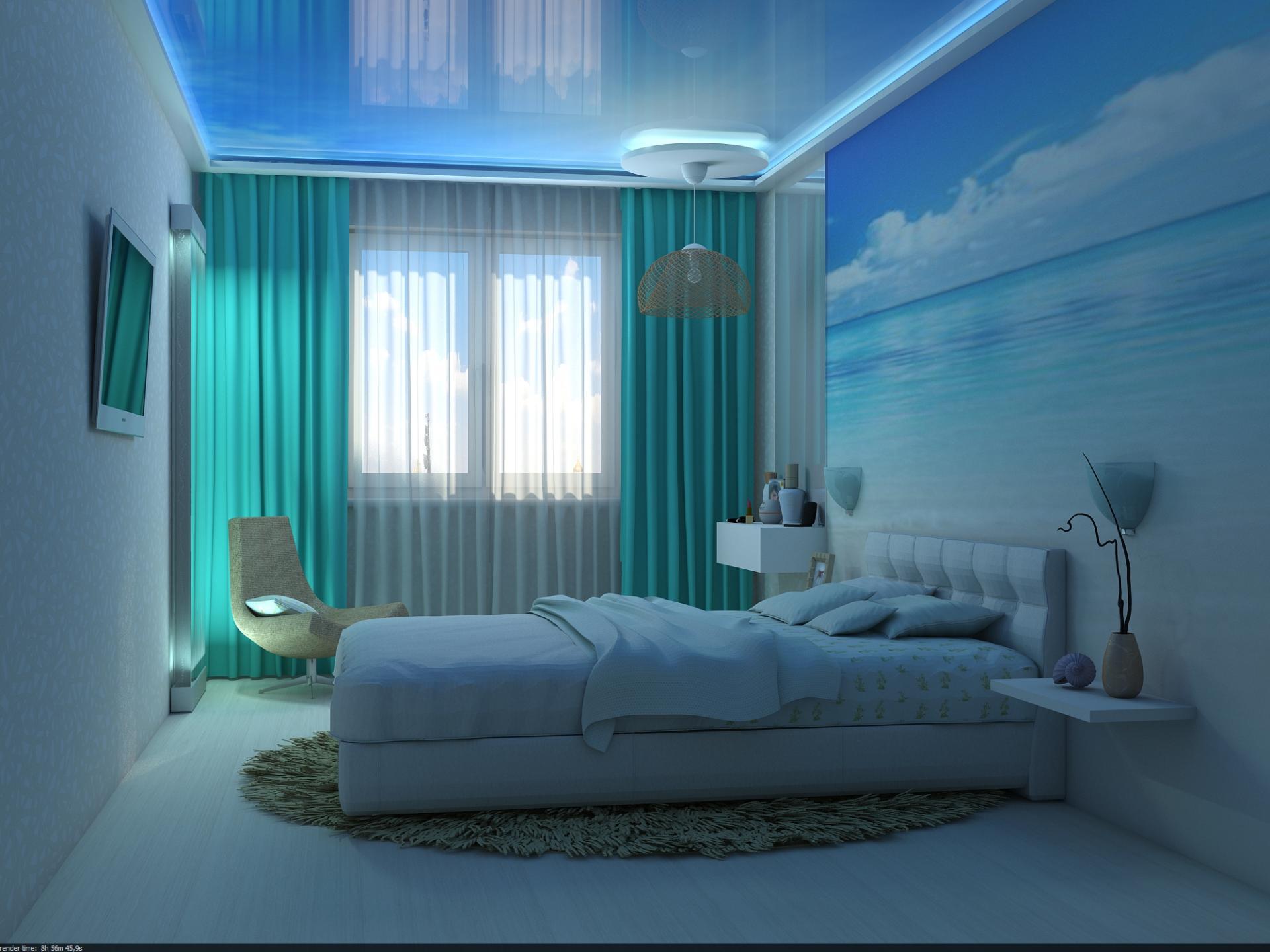 натяжной потолок облака фото в интерьере