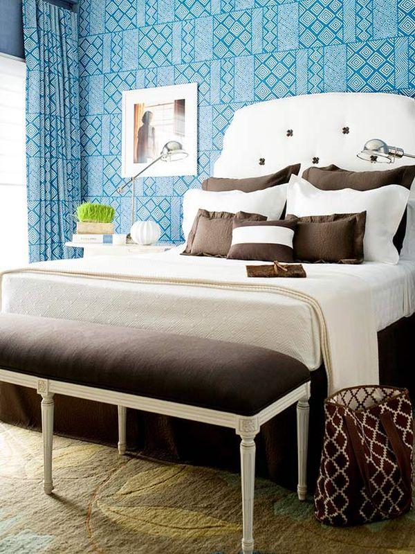 Голубой и коричневый спальня
