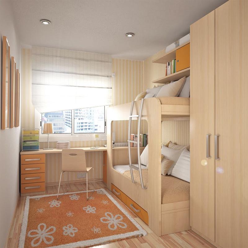 Интерьер узкой детской комнаты для 2 мальчиков фото