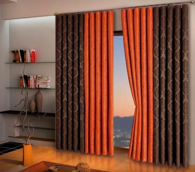Использование тканей двух видов для портьер для декора окна