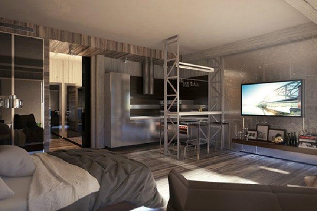 Квартира-студия в стиле гранж