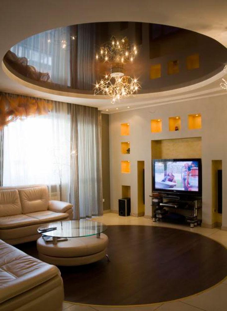 Фото дизайн двухуровневых потолков в гостинной
