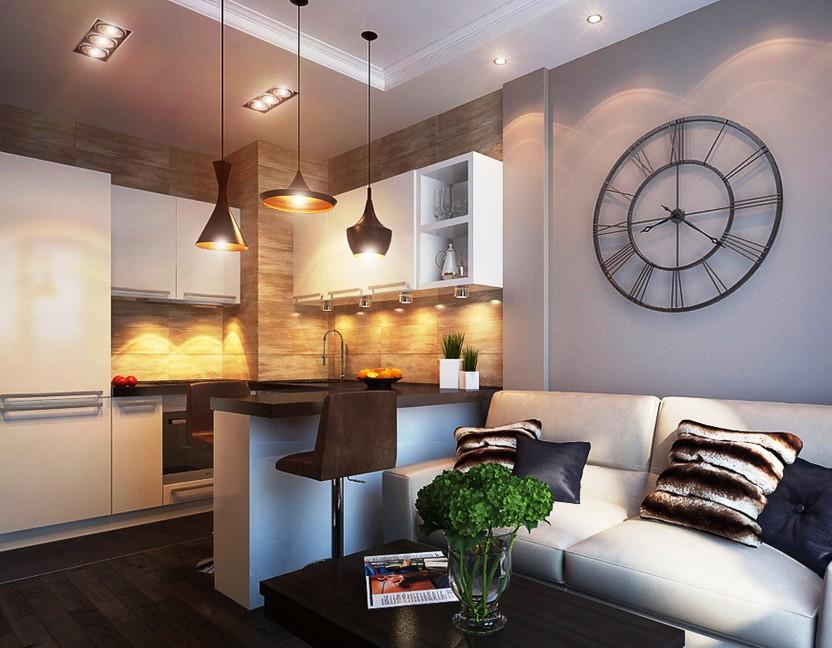 Небольшая кухня совмещенная с гостиной дизайн