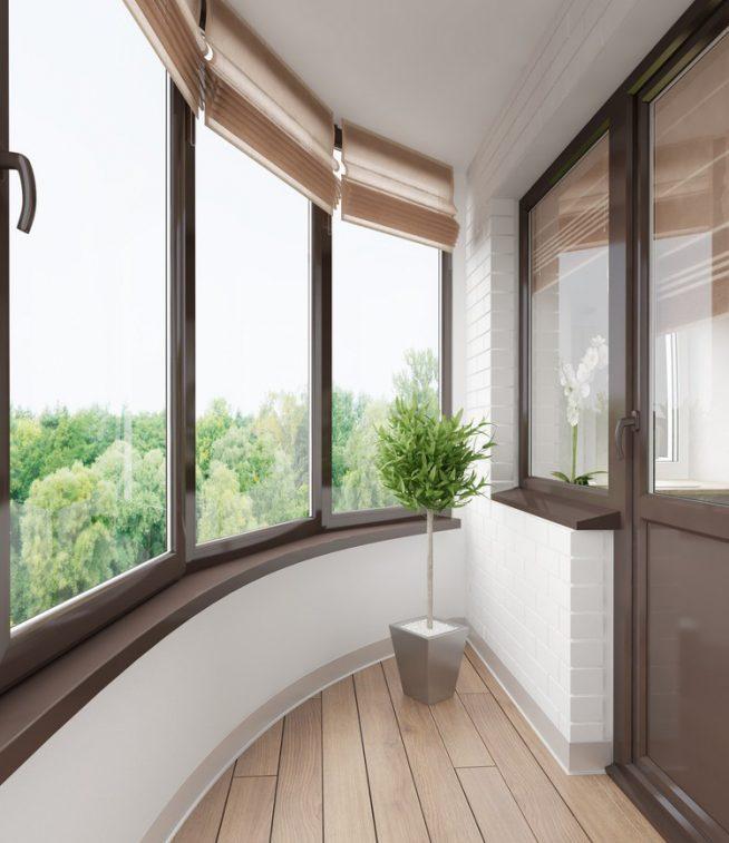 Острый угол в нестандартной форме балкона