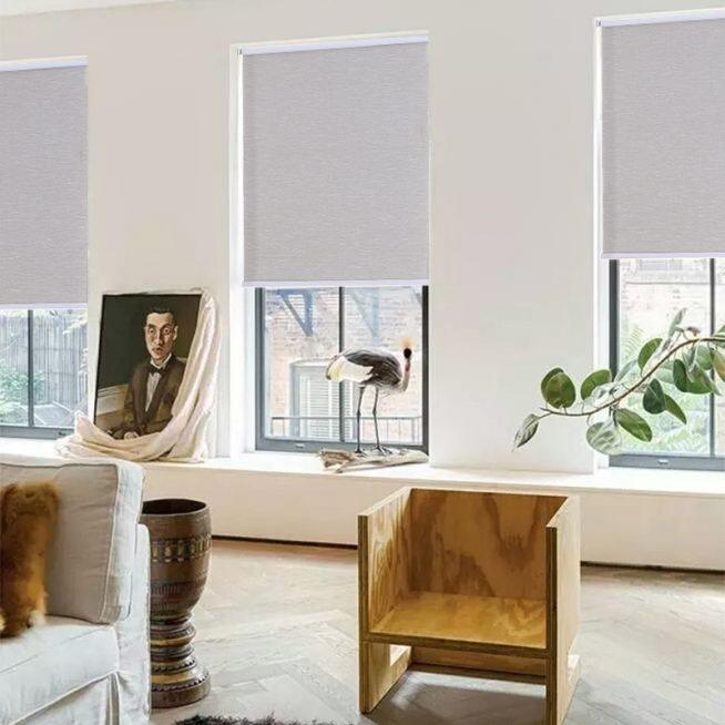 Однотонные рулонные шторы в интерьере гостиной