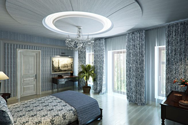 Спальня арт-деко голубой цвет