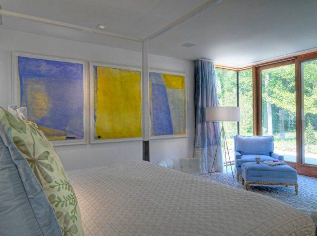 Жёлтый и голубой спальня