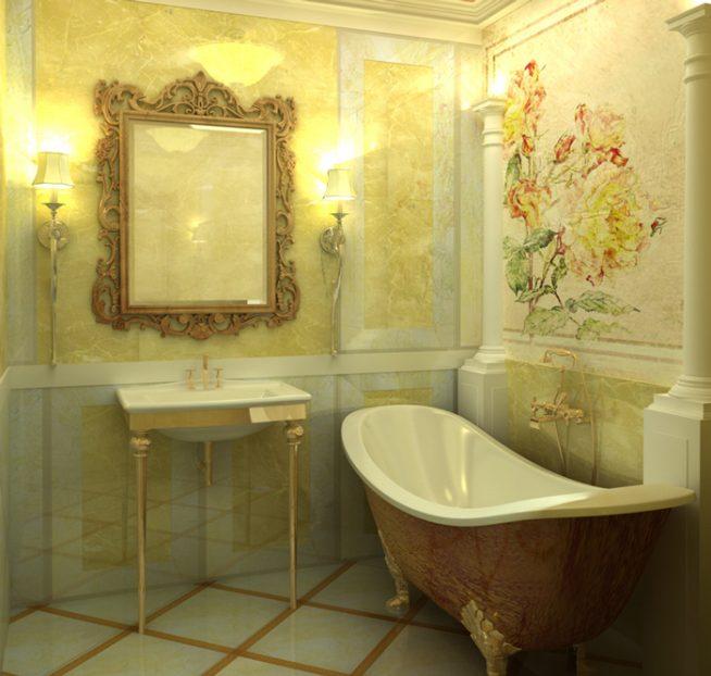 Античный стиль в ванной комнате в квартире