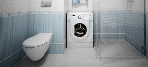 Дизайн ванной комнаты с душевой кабиной и стиральной машиной