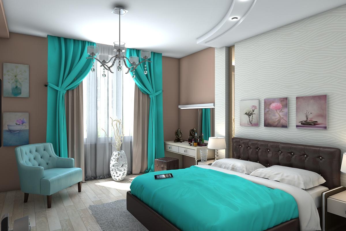 Бирюзовый цвет в спальне в интерьере фото