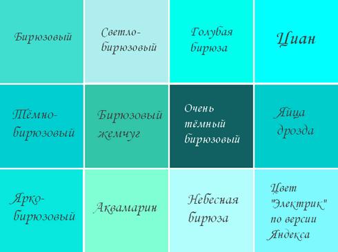 Бирюзовый цвет