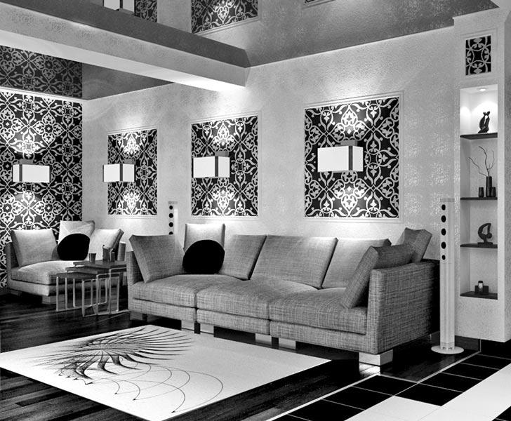 Интерьер зала в черно белых тонах фото
