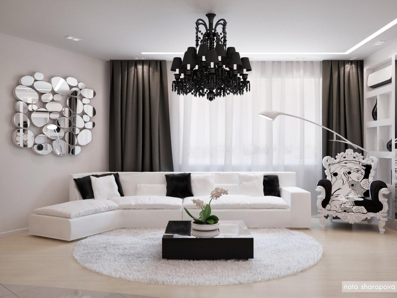 дизайн чёрно белого интерьера гостиной варианты оформления зала с фото