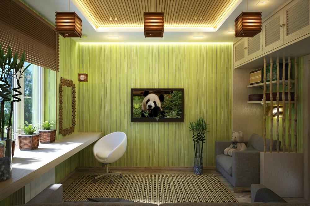 Дизайны комнат в бамбуке