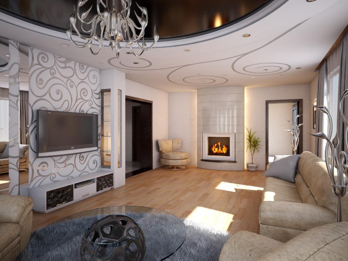 Дизайн интерьера гостиной в современном стиле в частном доме фото